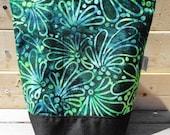 Insulated Lunch Bag - Green Batik Flowers