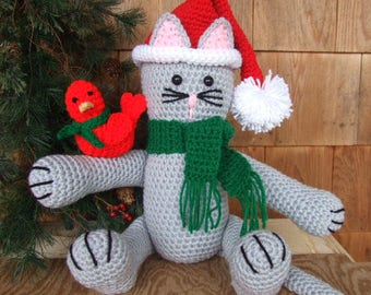 CROCHET PATTERN - CV112 Sydney The Christmas Kitty - cat - amigurami - PDF Download