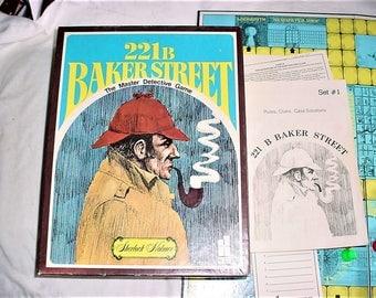 Vintage 70s 221B Baker Street Game Sherlock Holmes Bookcase Board Game Hansen