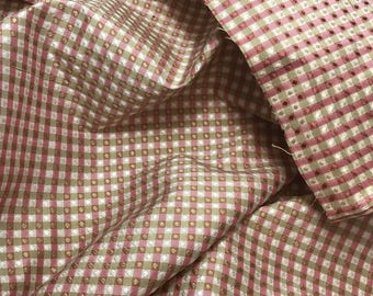 """Silk Taffeta Fabric - Cranberry Red & Ivory Jacquard Check 54"""" wide -By the Yard -"""
