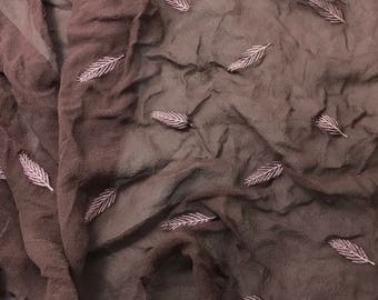 Embroidered Leaves Silk Chiffon - Hand Dyed Mahogany Brown - 1 yard
