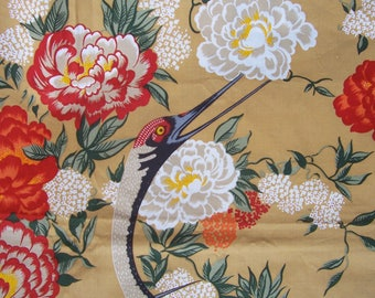 """Vintage Cotton Fabric Panel CRANES  50 x 2 yds """"Lazy Afternoon"""" Andre Matenciot Co"""