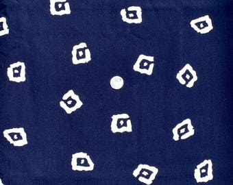 Vintage Rayon Midnight Blue Fabric Small White Squares Dots 57 x 2 3/4 yds