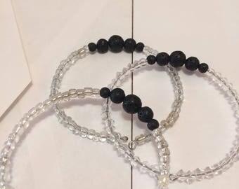 Clear lava stone memory wire didfuswr bracelet