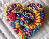 Freeform embroidery heart brooch  Brooch #194