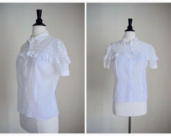 Vintage 60s Helene Blouse   1960s Cotton Lace Top