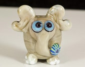 I Heart Elephants Lampwork Glass Bead
