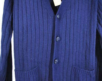 Vintage Men's Cardigan Sweater by Anderson Little - Acrylic Ribbed Navy Blue - Size Medium - NWT NOS