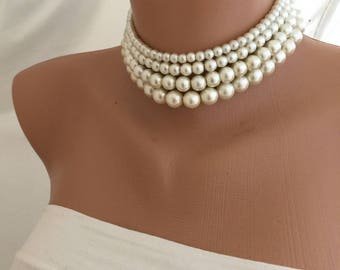 Multi Strand Glass Pearl Choker,  Jewellery, Handmade Layered Necklace