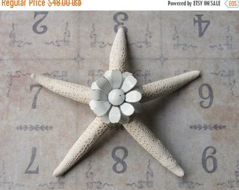 CLEARANCE SALE Vintage White Metal Daisy Brooch Pin Jeweled Starfish, Inspirational Bridal Gift, Beach Wedding Cake Decor, Beach Cottage Coa