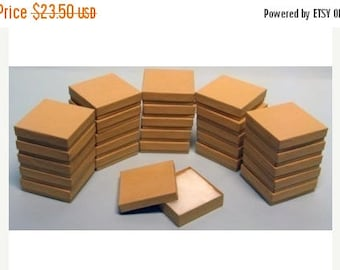 STOREWIDE SALE 50 Pack Kraft 3.5 X 3.5 X 1 Inch  Size Cotton Filled Jewelry Presentation Gift Boxes