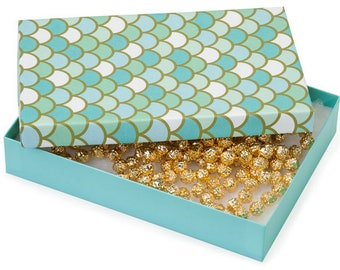 New Years Sale 100 Pack Mermaid Scale Design 7X5X1.25 Inch Sized Cotton Filled Jewelry Presentation Boxes