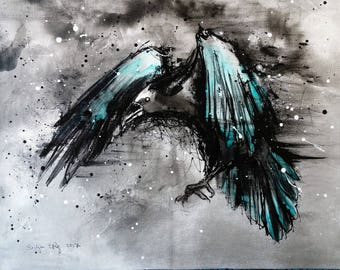 Crow art - A3 - 16x12in  - abstract bird painting - turquoise feathers