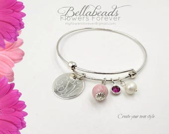Cremation Jewelry, Memorial Bracelet, Funeral Flower, Pet Memorial, Memorial Beads Made with Dried Flowers, The Faithful Bangle Bracelet
