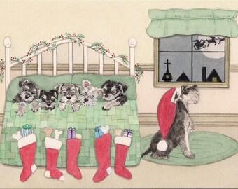 Christmas cards: Schnauzer family snug in bed on Xmas eve / Lynch folk art