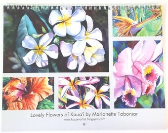 2018 Wall Calendar Tropical Flowers by artist Marionette Taboniar Hawaiian Flowers of Kauai Maui Oahu 12 month calendars Christmas gifts