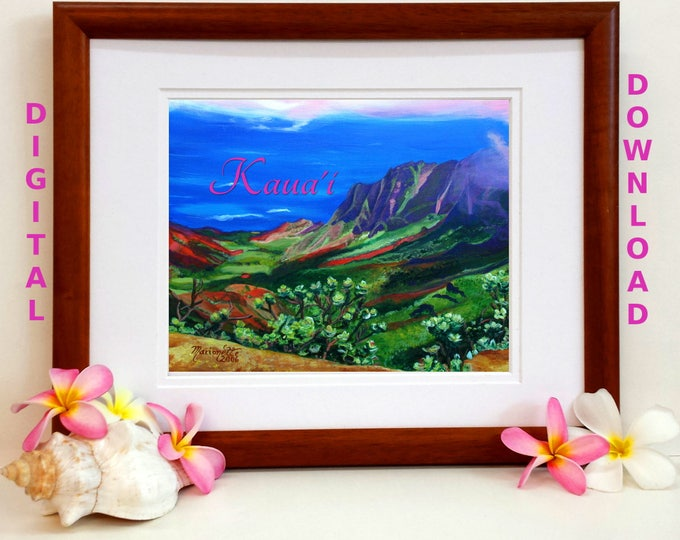 Kauai Kalalau Valley Digital Art Prints 8x10 and 5x7 printable wall art home decor Kauai Hawaii downloadable print jpg instant downloads