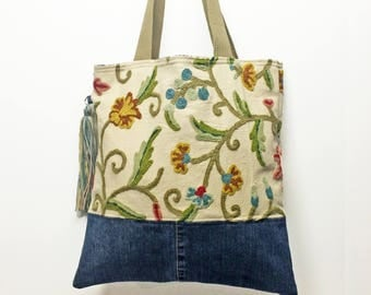 Book bag tote made from upcycled material Perfect for book club, farmer's market, art fair, shopping. Summer jean embroidery floral boho