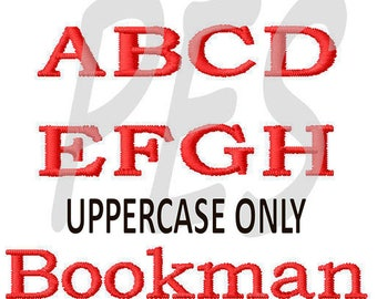 "Bookman UPPERCASE Embroidery Font  in 3 Sizes - 2"", 3"", 4"" FILL - pes files"