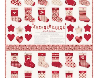 Merry Merry Ribbon (27270 13) Advent Calendar Stockings by Kate Spain - 1 panel