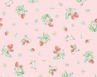 Bunnies and Cream, By Lauren Nash Bunnies Strawberry Blue C6021-Pink