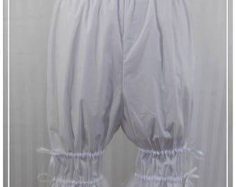 White adjustable above the knee bloomers lolita adult--small to plus size