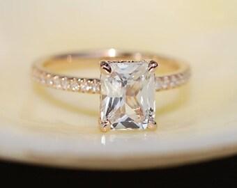 Blake Lively ring  White Sapphire Engagement Ring emerald cut 14k rose gold diamond ring 2.09ct sapphire ring