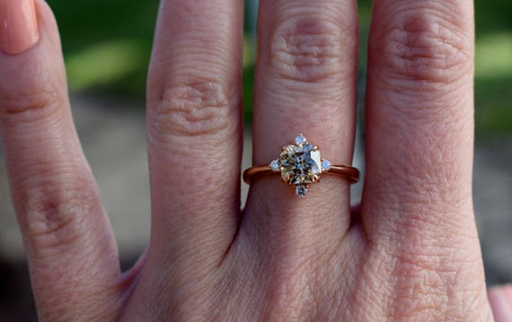 Engagement ring Champagne diamond ring 1.2ct VVS2 light Brown asscher cut diamond ring natural diamond. Engagement ring by Eidelprecious