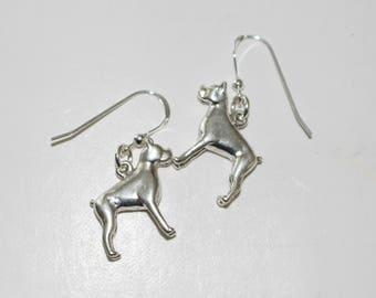 Sterling Silver 3D BOSTON TERRIER DOG Earrings - Pet