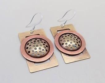Steampunk earrings .Mixed metal jewelry.