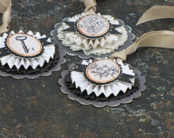 Set of THREE Vintage Gothic Inspired Gift Tags Ornaments Victorian Paper Rosettes Floral Key Steampunk