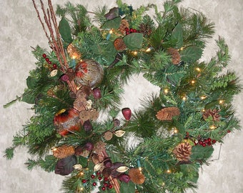 Lighted Pine Wreath with Feather Balls, Berries, Pinecones and White Clear Lights