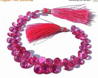 50% Off Sale 1/2 Strand Outrageous AAA Rubelite Pink Quartz Faceted Pear Briolettes Size - 9x6 - 12x8mm approx