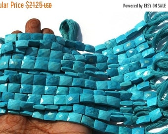 50% Off Sale 1/2 Strand Finest Quality Turquoise Faceted Rectangle Beads Size 9x7 - 10x7 mm Turquoise Faceted Chicklet Beads