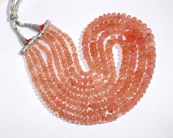 "20"" Natural Morganite Smooth Rondelle Beads 4 Strand Necklace / Morganite Rondelle Multi Strand Necklace Size 2x5 - 12x9mm"