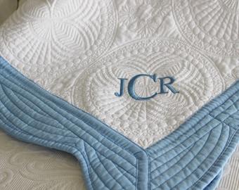 Custom Monogrammed Personalized Baby Boy Crib Quilt