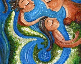 Boundless - mermaid motherhood print from an acrylic painting by Katie m. Berggren