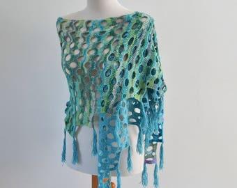 Crochet shawl, aqua colors