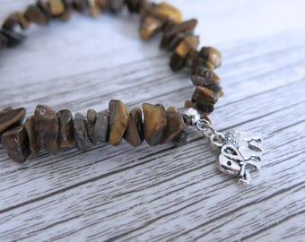 Tigers Eye Bracelet Tigers Eye Gemstone Bracelet Custom Tigers Eye Bracelet Choose Your Own Charm Bracelet Design Your Bracelet