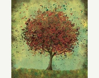 50% Off Summer Sale - Fall Tree Art - Welcome Change (rustic green and burnt orange) - 8x10 Print