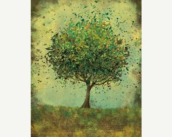50% Off Summer Sale - 24x36 Fine Art Print - Welcome Change (rustic green) - 24x36 LARGE Print - Modern Tree Art