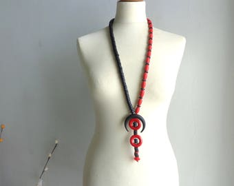 Black red long statement necklace, black coral necklace, horn necklace