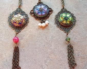 Czech glass Button pendant your choice of one Handmade