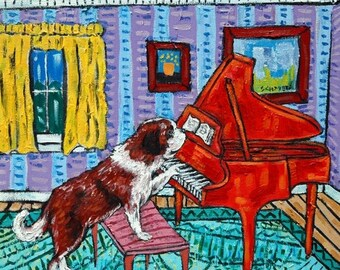 20 % off storewide saint bernard dog piano art tile coaster gift animals impressionism artist gift new