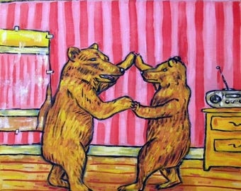 20% off storewide Brown Bears in the Dance Studio Animal Art Tile Coaster