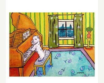 20% off West Highland White Terrier Playing the Piano Dog Art Print