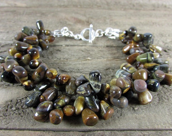 Tiger Eye Multi Strand Bracelet, Tiger Eye Bracelet