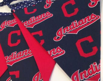 CLEVELAND INDIANS BANNER--Cleveland Indians Pennant--Cleveland Baseball--Chief Wahoo--Indians Party--Cleveland Sports--Tribe Fans Baseball