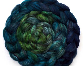 Roving Handdyed Merino Silk Swirled Colors Combed Top, Enchantment 5.5 oz.