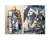 ON HOLD Vintage 90s Silk Blouse Shirt M with Autographed Photos of Hollywood Legends in Black and White